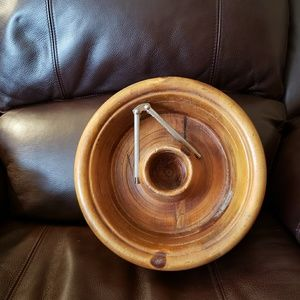 Old Wooden Pine Lathed Nut Bowl